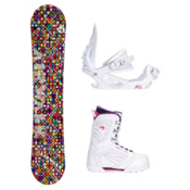 Airwalk Kaleidoscope White Cosmo Womens Complete Snowboard Package, , medium