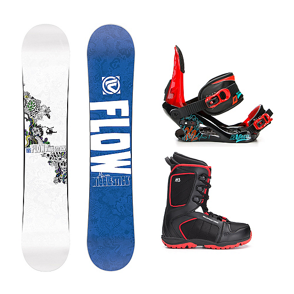 Flow Micron Wigglestick Militia 4 Kids Complete Snowboard Package, , 600