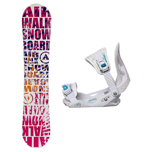 Airwalk Laser Pink Solstice Girls Snowboard and Binding Package, , 600