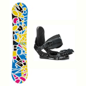 Joyride Letters White Solstice Girls Snowboard and Binding Package, , medium