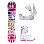 Airwalk Laser Pink Venus XIII Girls Complete Snowboard Package, , medium