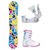 Joyride Letters White Venus XIII Girls Complete Snowboard Package, , medium