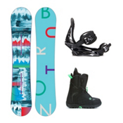 Burton Feather Mint Womens Complete Snowboard Package 2016, 144cm, medium