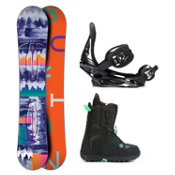 Burton Feather Mint Womens Complete Snowboard Package 2016, 149cm, medium