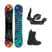 Burton Socialite Mint Womens Complete Snowboard Package 2016, 147cm, medium