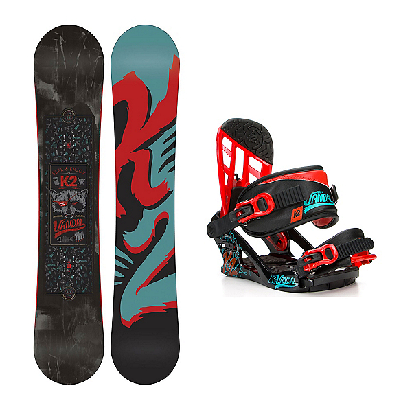 K2 Vandal Kids Snowboard and Binding Package, , 600
