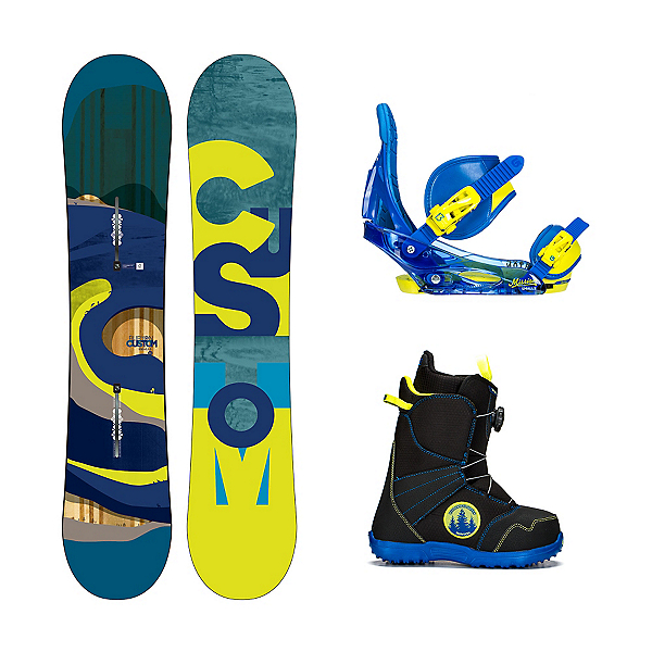 Burton Custom Smalls Zipline Boa Kids Complete Snowboard Package, , 600