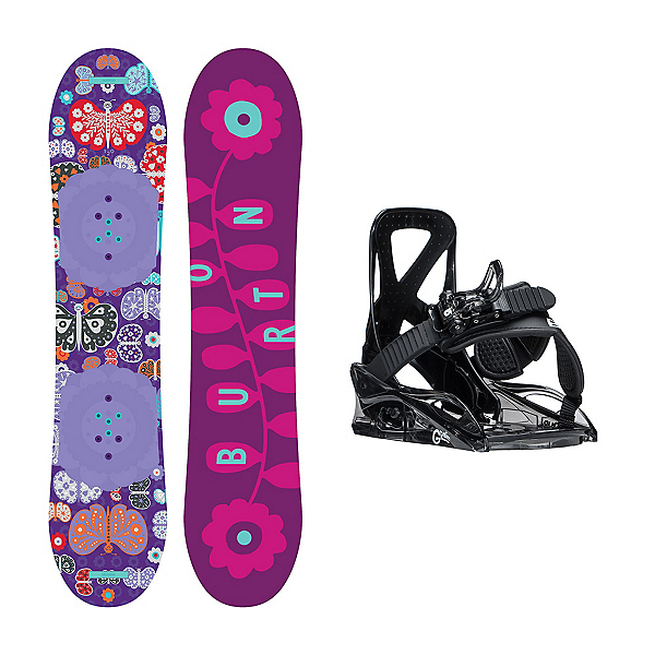 Burton Chicklet Grom Girls Snowboard and Binding Package, 120cm, 600