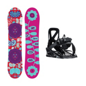 Burton Chicklet Grom Girls Snowboard and Binding Package, 125cm, medium
