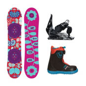 Burton Chicklet Grom Boa 2 Girls Complete Snowboard Package, 125cm, medium