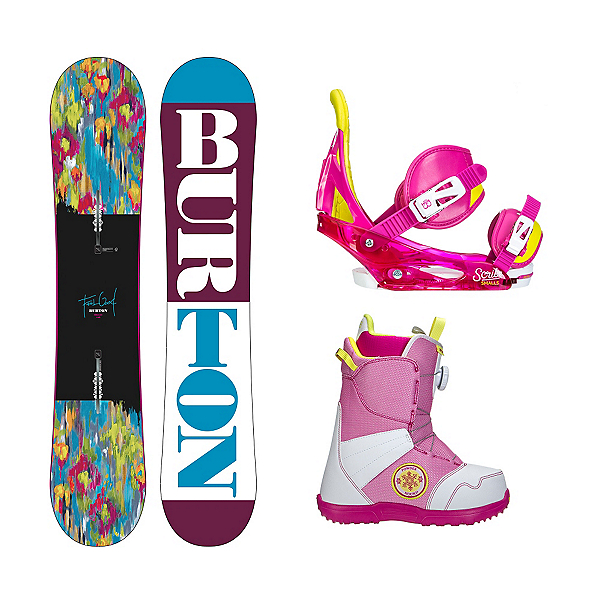 Burton Feelgood Smalls Zipline Boa Girls Complete Snowboard Package 2016, , 600