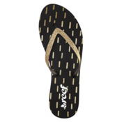 Reef Stargazer Prints Womens Flip Flops, Black-Gold, medium