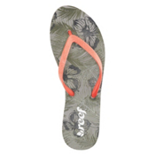 Reef Stargazer Prints Womens Flip Flops, Olive Tropical, medium