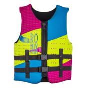Ronix August Youth Junior Life Vest 2016, Pink-Highlighter, medium