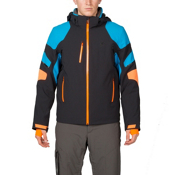 Spyder Verbier Mens Insulated Ski Jacket, Black-Electric Blue-Bryte Oran, medium