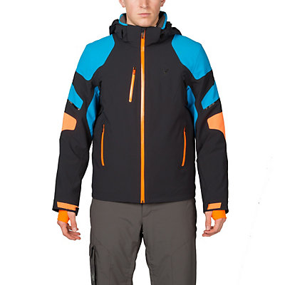 Spyder Verbier Mens Insulated Ski Jacket (Previous Season), Black-Electric Blue-Bryte Oran, viewer