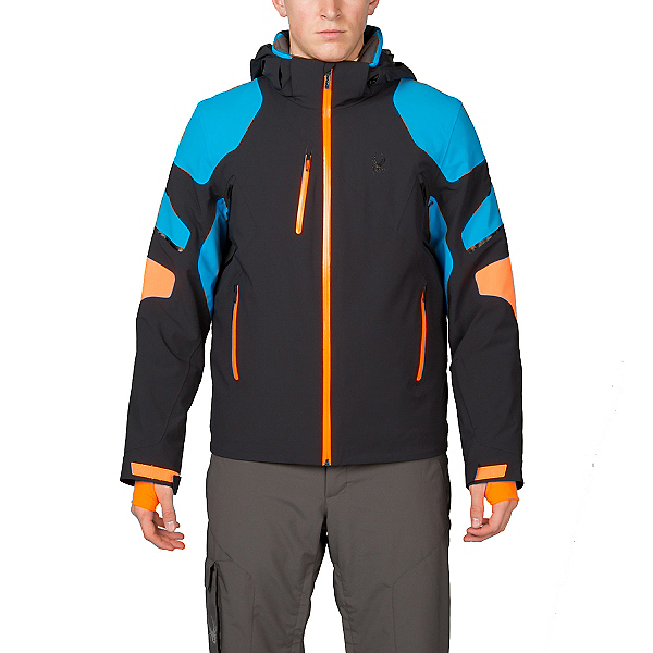 Spyder Verbier Mens Insulated Ski Jacket (Previous Season), Black-Electric Blue-Bryte Oran, 600