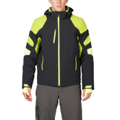 Spyder Verbier Mens Insulated Ski Jacket, Black-Theory Green-Bryte Yello, medium