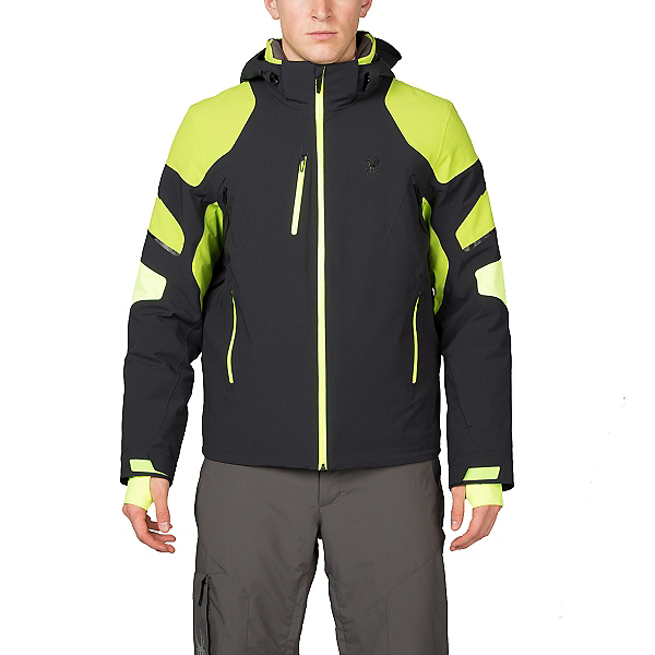 Spyder Verbier Mens Insulated Ski Jacket (Previous Season), Black-Theory Green-Bryte Yello, 600