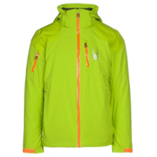 Spyder Squaw Valley Mens Insulated Ski Jacket, Theory Green-Polar-Bryte Orang, medium