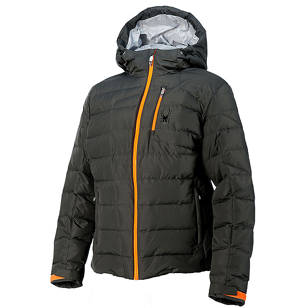 Spyder Impulse Down Mens Insulated Ski Jacket (Previous Season), Polar-Bryte Orange-Cirrus, 600