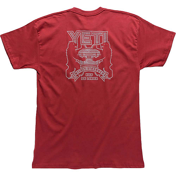 YETI Coat Of Arms Tee Mens T-Shirt, Brick Red, 600
