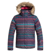 Roxy American Pie Faux Fur Girls Snowboard Jacket, Geo Stripe, medium