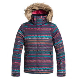 Roxy American Pie Faux Fur Girls Snowboard Jacket, Geo Stripe, 256