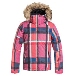 Roxy American Pie Faux Fur Girls Snowboard Jacket, Mauna Plaid, 256