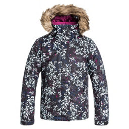 Roxy American Pie Faux Fur Girls Snowboard Jacket, Ditsy Floral, 256