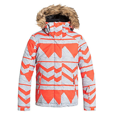 Roxy American Pie Faux Fur Girls Snowboard Jacket, Damaris Nasturtium, viewer