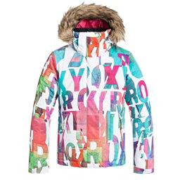 Roxy American Pie Faux Fur Girls Snowboard Jacket, Mazzy Rx-Bright White, 256