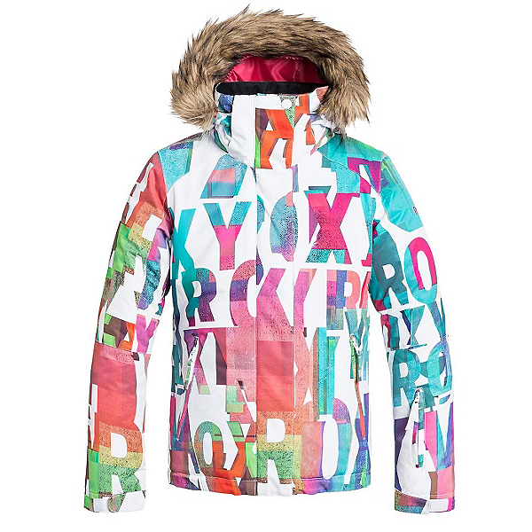 Roxy American Pie Faux Fur Girls Snowboard Jacket, Mazzy Rx-Bright White, 600