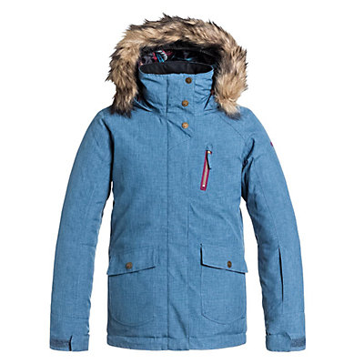 Roxy Tribe Faux Fur Girls Snowboard Jacket, Ensign Blue, viewer