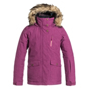 Roxy Tribe Faux Fur Girls Snowboard Jacket, Magenta Purple, medium