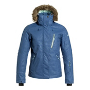 Roxy Jet Ski Premium w/Faux Fur Womens Insulated Snowboard Jacket, Ensign Blue, medium