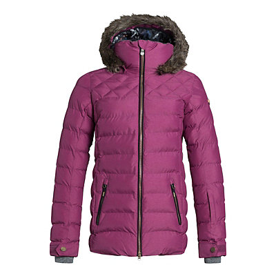 Roxy Quinn w/Faux Fur Womens Insulated Snowboard Jacket, Magenta Purple, viewer