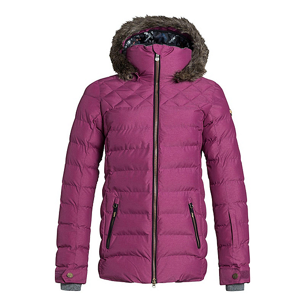Roxy Quinn w/Faux Fur Womens Insulated Snowboard Jacket, Magenta Purple, 600