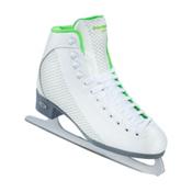 Riedell 113 Sparkle Womens Figure Ice Skates, White-Lime, medium