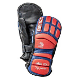 Hestra RSL Comp Vertical Cut Race Mitten Ski Racing Mittens, Black-Flame Red, 256