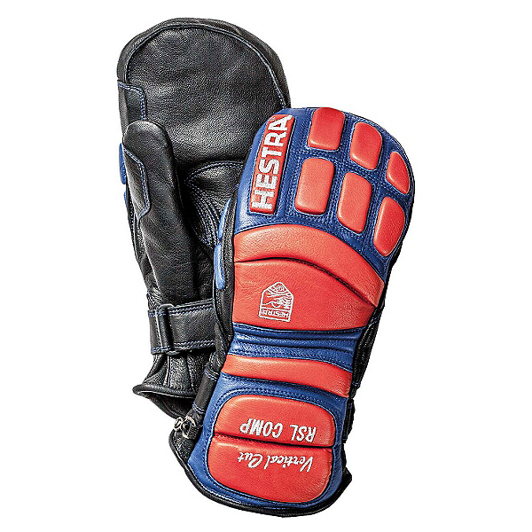 Hestra RSL Comp Vertical Cut Race Mitten Ski Racing Mittens, Black-Flame Red, 600