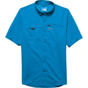 Under Armour Fish Stalker Short Sleeve Shirt, Electric Blue-Steel, medium