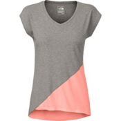 The North Face Nueva Womens T-Shirt, TNF Medium Grey Heather-Neon P, medium