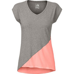 The North Face Nueva Womens T-Shirt, TNF Medium Grey Heather-Neon P, 256