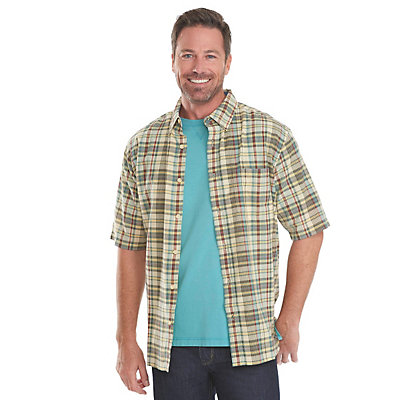 Woolrich Timberline Madras Plaid Mens Shirt, Nordic Blue, viewer