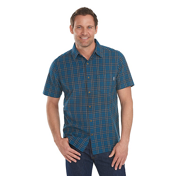 Woolrich Amblewood Madras Plaid Mens Shirt, Nordic Blue, 600
