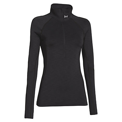 Under Armour ColdGear Cozy Half Zip Womens Shirt, Black-Metallic Silver, viewer