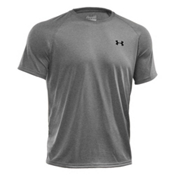 Under Armour Tech Short Sleeve Mens T-Shirt, True Gray Heather-Black, medium