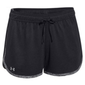 Under Armour Tech Womens Short, Black-Black-Metallic Silver, medium