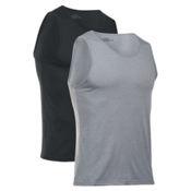 Under Armour Core Tank 2-Pack Mens Tank Top, True Gray Heather-Black, medium